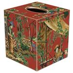 Red Chinoiserie Tissue Box Cover