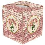 Pink Lillies on Rose Toile Tissue Box Cover