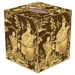 Brown & Gold Asian Toile Tissue Box Cover