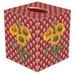 Sunflowers on Red Provencial Tissue Box Cover