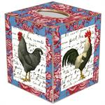 Roosters on Pink & Blue Toile Tissue Box Cover