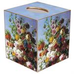 Spring Bouquet on Blue Background Tissue Box Cover