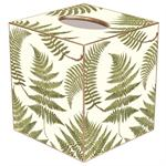 Ferns on Creme Tissue Box Cover