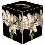 Antique Lillies on Black Tissue Box Covers