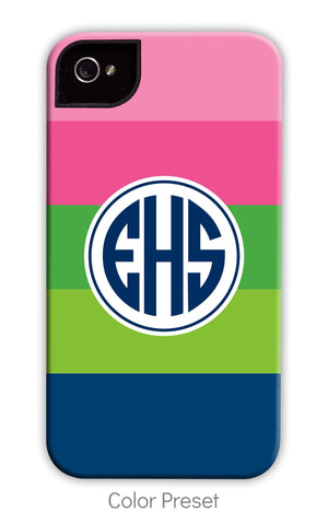 Bold Stripe: Pink, Green, and Navy Phone Case