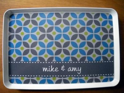 Personalized Ocean & Gray Cirque Melamine Tray