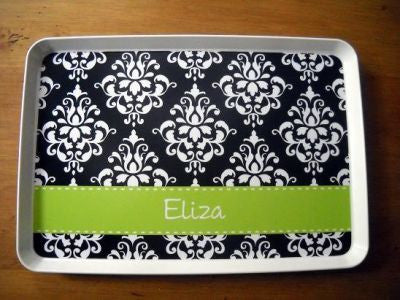 Personalized Black Damask Melamine Tray