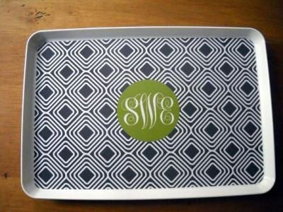 Monogrammed Gray Diamond Melamine Tray