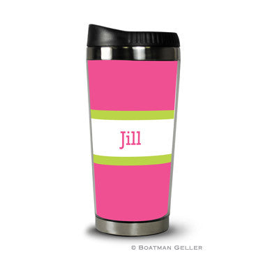 Stripe Raspberry & Lime Travel Tumbler