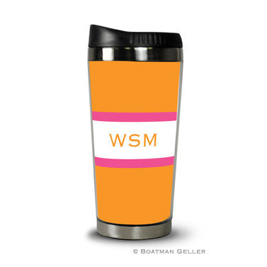 Stripe Tangerine & Raspberry Travel Tumbler