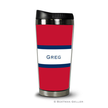 Stripe Red & Navy Travel Tumbler