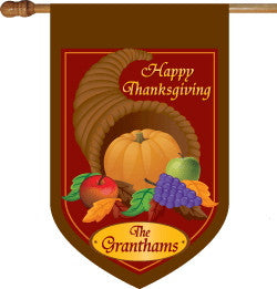 Monogrammed Thanksgiving House Flag