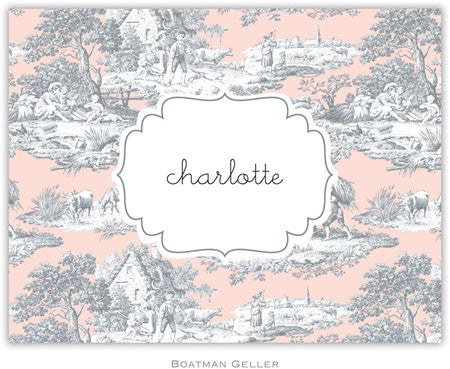 Toile Gray & Blush Foldover Note
