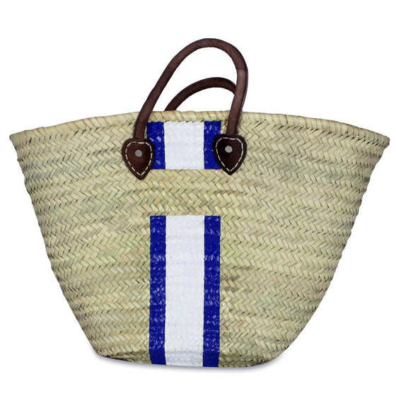 Leather Top Handle Straw Beach Bag