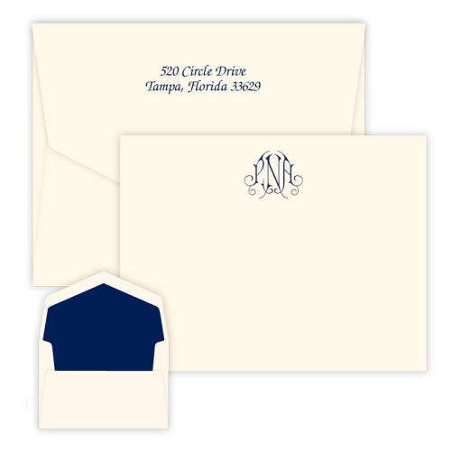 Victoria Monogram - Raised Ink Flat Correspondence Card