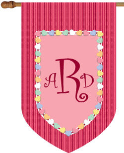 Monogrammed Candy Hearts House Flag