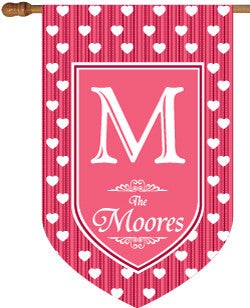 Monogrammed Polka Dot Hearts House Flag