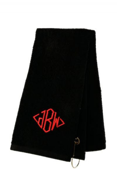 Monogrammed Black Sports Towel