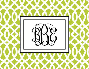 Monogramed Patio Trellis Lime Folded Note