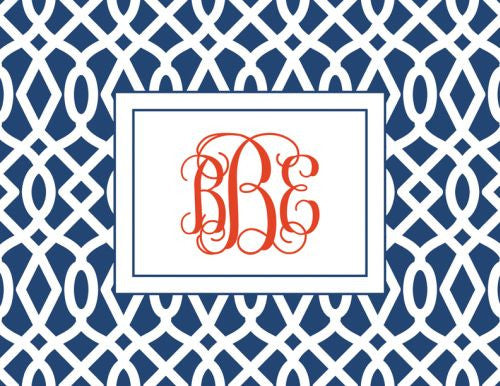 Monogramed Patio Trellis Navy Folded Note