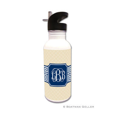 Greek Key Band Navy Water Bottle