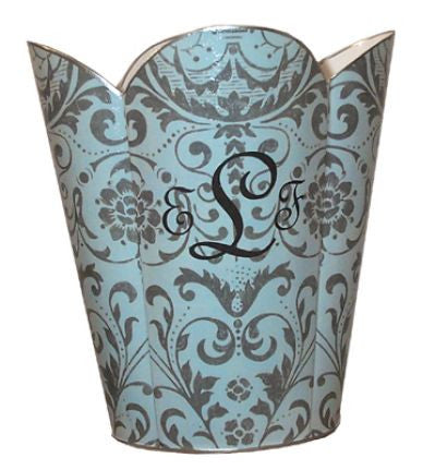 Aqua Damask Waste Basket
