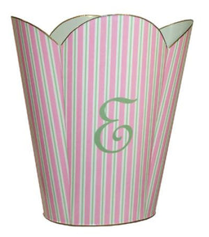 Pink Stripe Waste Basket