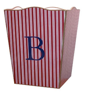 Red & White Stripe Waste Basket
