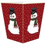 Snowman on Red Tiny Polka Dot Waste Basket