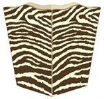 Brown & Creme Zebra Print Waste Basket