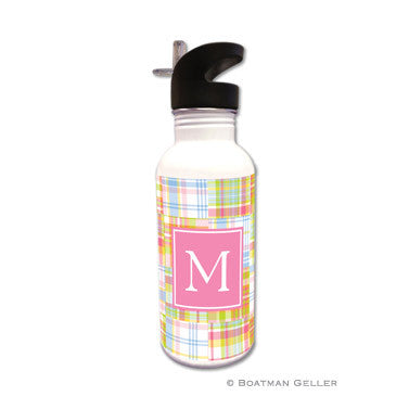 Madras Patch Pink Water Bottle