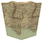 Louisiana Coast Antique Map Waste Basket