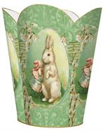Easter Bunny on Mint Damask Waste Basket
