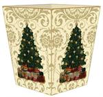 Christmas Tree on Gold Damask Waste Basket