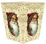 Santa Face on Creme & Gold Damask Waste Basket