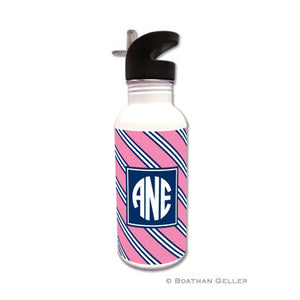 Repp Tie Pink & Navy Water Bottle