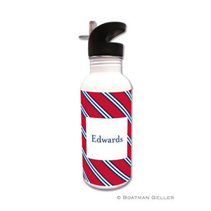 Repp Tie Red & Navy Water Bottle