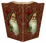 Santa Face on Red Damask Waste Basket