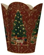 Christmas Tree on Red Damask Waste Basket