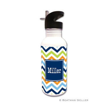 Chevron Blue, Orange, & Lime Water Bottle