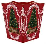Christmas Tree on Red Provencial Waste Basket