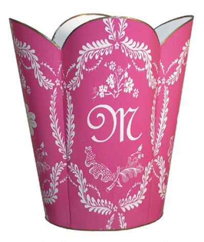 Hot Pink Provencial Scallop Waste Basket