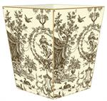 Brown & Creme Toile Waste Basket