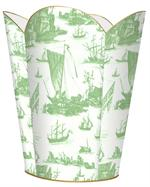 Sage Boat Toile Waste Basket