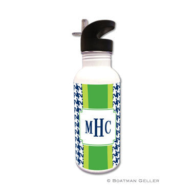 Alex Houndstooth Navy Water Bottle