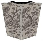 Peacock Toile Waste Basket