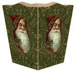 Santa on Green Damask Waste Basket