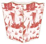Red Boat Toile Waste Basket
