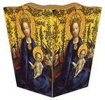 Blue Madonna & Child Waste Basket