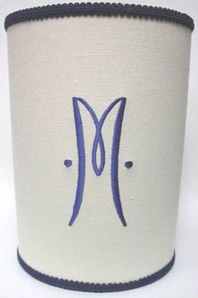 Monogram Linen Waste Basket